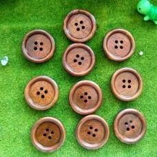 Пуговицы деревянные, 25 мм (кофейный)