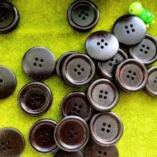 Пуговицы деревянные, 25 мм (тёмно-коричневый)
