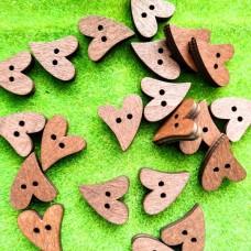 Пуговицы деревянные Сердце гнутое, 20×15