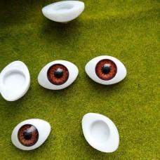 Глаза клеевые кукольные 21 мм (коричневый)