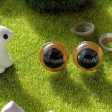 Глаза для игрушек на безопасном креплении, 14 мм (светло-коричневый)