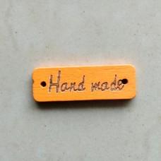 """Бирка деревянная """"Hand made"""" 30×9 мм (оранжевый)"""