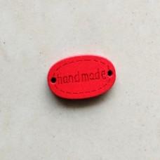 """Бирка деревянная """"Hand made"""" 18×10 мм (красный)"""