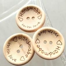 Пуговицы деревянные Handmade with love, 25 мм