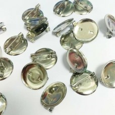 Застёжка-булавка для броши круглая, 20 мм (никель)