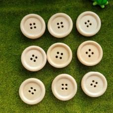 Пуговицы деревянные, 25 мм (молочный)