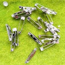 Застёжка-булавка для броши прямая, 25 мм (никель)