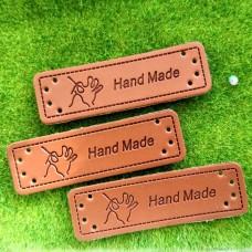 "Бирка кожзам ""Handmade"" Рука, 50×15 мм"