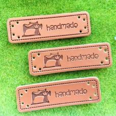 """Бирка кожзам """"Handmade"""" Швейная машинка, 50×15 мм"""