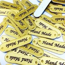 Бирка кожзам Hand Made 44×12 мм золото