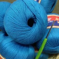 Мерсеризованный хлопок голубой темный