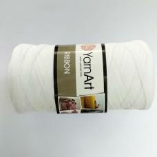 Трикотажная пряжа первичка Ribbon 751 (белый)