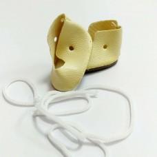 Обувь для кукол, кожзам, шнурки, 3 см (молочный)