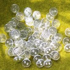 Пуговицы пластиковые круглые, 9 мм (прозр)