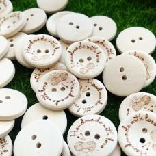 Пуговицы деревянные Handmade с клубком, 20 мм