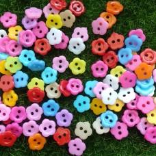 Пуговицы пластиковые Цветок, 10 мм (цвета микс)