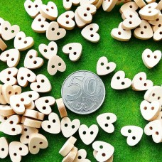 Пуговицы деревянные Сердце, 10 мм