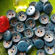 Пуговицы деревянные крашеные Цветок, 15 мм