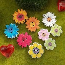 Пуговицы деревянные принт Цветы (микс)