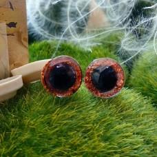 Глаза 3D, 12 мм (оранжевый блестящий)