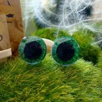 Глаза 3D, 12 мм (зелёный блестящий)