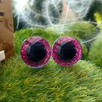 Глаза 3D, 12 мм (розовый блестящий)