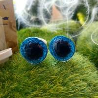 Глаза 3D, 12 мм (синий блестящий)