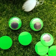 Глаза клеевые бегающие, 15 мм (зелёный)