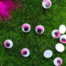 Глаза клеевые бегающие, 10 мм (розовый с ресницами)