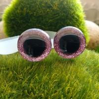 Глаза 3D, 16 мм (блеск, розовый)