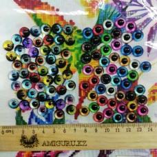 Глаза клеевые стеклянные, 10 мм (цвета микс)
