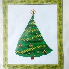 """Набор для вышивания крестом """"Ёлочка с золотыми шарами"""" Riolis (15×18 см)"""