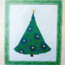 """Набор для вышивания крестом """"Ёлочка с радужными шарами"""" Riolis (15×18 см)"""