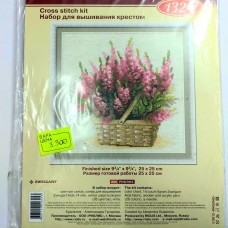 """Набор для вышивания крестом """"Корзина с розовыми цветами"""""""