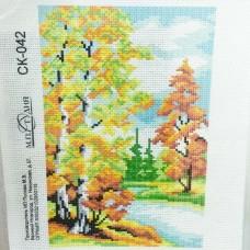 Канва для вышивания крестом с нанесенной схемой Осенний лес