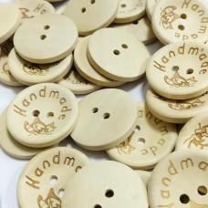 Пуговицы деревянные Handmade с бабочкой, 20 мм