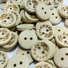 Пуговицы деревянные Handmade с бабочкой, 15 мм