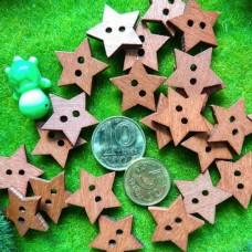 Пуговицы деревянные Звезда, 20 мм